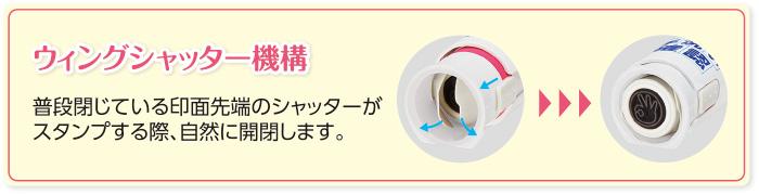 おててポン使用方法。印面ロックを解除して手にスタンプする。